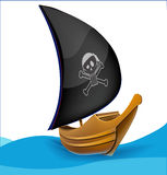 Sail boat with pirate symbol Royalty Free Stock Photography