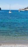 Sail boat in Port de Soller bay Mallorca. Balearic islands, Spain Royalty Free Stock Photos