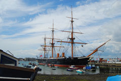Sail boat at Portsmouth. 3 masted tall-ship at Portsmouth England Stock Photo