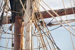 Sail boat rigging. Tall ship rigging, mast and sail Stock Image
