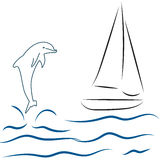 Sail boat sea and dolphin,. Dolphin, boat, sail, beach, ocean, flat, sea blue, wave, blue, fish, illustration, vector Royalty Free Stock Images