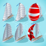 Sail Boat Set 01 Vehicle Isometric. Points of Sail Isometric 3D Flat Style Set. Sail Boat Mainsail Jib and Spinnaker in Various Positions. Nautical Ship Stock Images