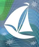 Sail boat silhouette on abstract wavy background Royalty Free Stock Photos