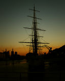 Sail boat silhouette at the docks Royalty Free Stock Photography