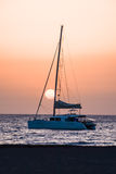 Sail Boat Silhouette  at Sunset Royalty Free Stock Image