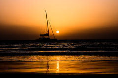 Sail Boat Silhouette  at Sunset Royalty Free Stock Photography