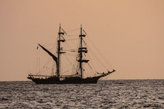 Sail Boat Silhouette  at Sunset Royalty Free Stock Photo