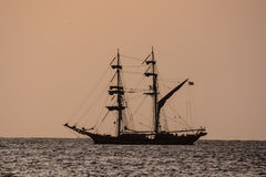Sail Boat Silhouette  at Sunset Royalty Free Stock Images