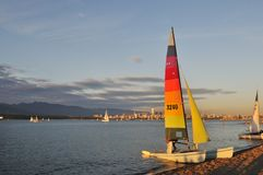 Sail boat at Spanish bank beach in Vancouver Royalty Free Stock Photos
