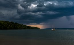 Sail Boat Storm Coming Sail Boat On Lake stock images