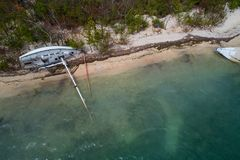 Sail boat sunken after Hurricane Irma. Aerial image of boats destroyed in the Florida Keys after Hurricane Irma Royalty Free Stock Photography
