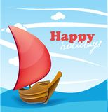 Sail boat on sunny seaside background Royalty Free Stock Image