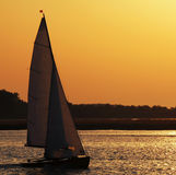 Sail boat at sunset Stock Images