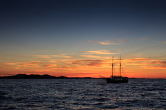 Sail boat at sunset in Croatia Royalty Free Stock Photography
