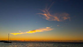 Sail boat in the sunset of Hawaii, the big island Stock Images