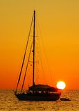 Sail boat, sunset kata beach phuket Royalty Free Stock Photography