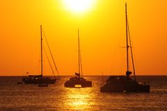 Sail boat in sunset Royalty Free Stock Photo
