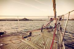Sail boat at sunset Royalty Free Stock Photos