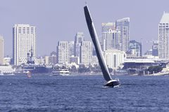 A Sail boat tacking on San Diego bay Stock Photography