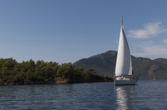 Sail boat in Turkey. Sailboat on the water in Fethiye, Turkey royalty free stock photos