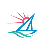 Sail boat - vector logo template concept illustration. Ship sign. Yacht symbol. Sun rays and water waves. Sea ocean travel. Royalty Free Stock Photography