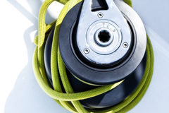 Sail boat winch. Close up on the winch of a sail boat Stock Images