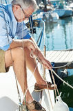 Sail boat  yacht mooring Royalty Free Stock Images