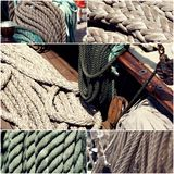 Sail boating concept. Sailing boat ropes collage set of images toned, vintage color.  Royalty Free Stock Photography