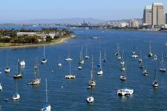 Sail boats. Lined up on the bay.  Coronado Island, California Royalty Free Stock Photography