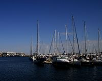 Sail Boats. View of marina next to the Dali Museum in St. Pete, FL Stock Photos