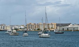 Sail boats anchored at San Juan bay, Puerto Rico. Royalty Free Stock Photography