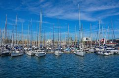 Sail boats in Baecelona Port Harbor Royalty Free Stock Photography