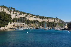 Sail boats in Calanques national park Royalty Free Stock Image