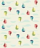 Sail boats with clouds and water repeat pattern. With seamless design Royalty Free Stock Images