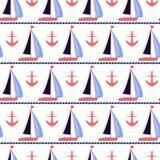 Sail boats and coral anchors nautical vector print royalty free illustration