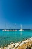 Sail boats docked in beautiful bay, Adriatic sea, Stock Photography