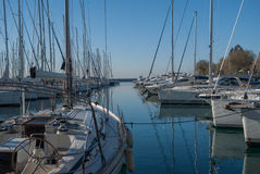 Sail boats docked in marina Royalty Free Stock Images