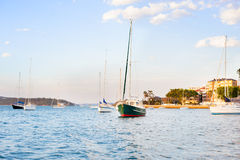 Sail boats in the harbor Stock Image