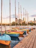 Sail boats in harbor. Colorful sailing boats in harbor in vienna do auinsel 2018 stock photography