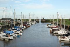 Sail boats in the harbor Stock Photo