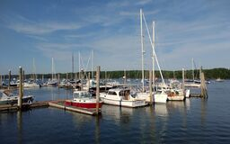 Free Sail Boats In The Harraseeket River At Brewers Point, Freeport, ME, USA Stock Photography - 211195462