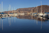 Sail Boats at Lake Mead Marina in Boulder City, NV on January 30 Stock Image