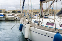 Sail boats moored at Msida Marina, Malta stock photos