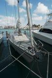 Sail boats moored at Oranjestad Harbor, Aruba Island Stock Images