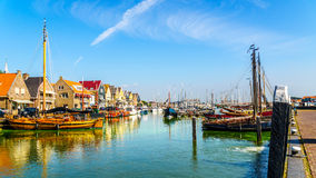 Sail boats and motor boats moored in a part of the harbor overtaken by algae in the historic fishing village of Urk. In the Netherlands Stock Image
