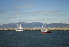Sail boats off Los Angeles coastline Royalty Free Stock Images
