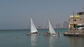 Sail boats at the old port of Jaffa in Tel Aviv Jaffa, Israel stock video