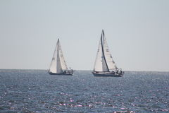 Sail boats saling on ocean pink bubbles Stock Photo
