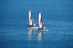 Sail boats in the sea Stock Photos