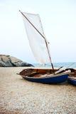 Sail Boats Sea Shore Lifesaver Flotation Life Buoy Rock Formation Concept stock photography